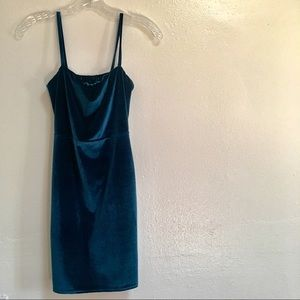 Teal Blue Velveteen Bodycon Party Dress
